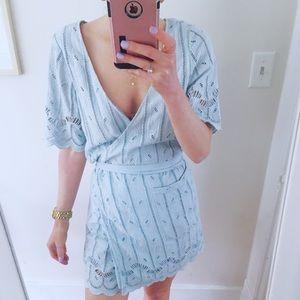 Tularosa Blue Eyelet Wrap Dress Size S